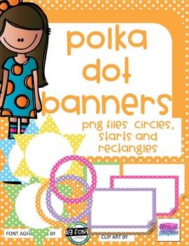 Polka Dot Clip Art - Polka Dots - Circle, Rectangles, Stars - Commercial use OK