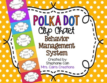 Polka Dot Clip Chart Behavior Management System