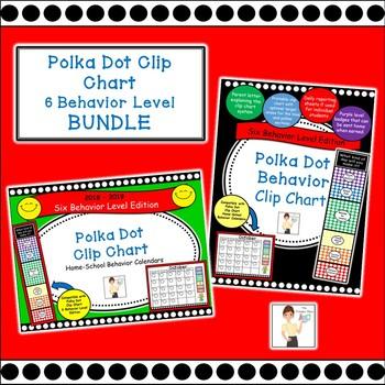Polka Dot Clip Chart & Calendars 2018-2019 BUNDLE - 6 Behavior Levels