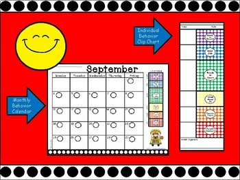 Polka Dot Clip Chart & Calendars BUNDLE - 6 Behavior Level Edition