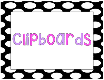 Polka Dot Clipboards Signs