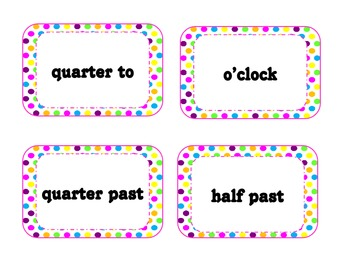 Polka Dot Clock Labels-Months of the Year-Calendar Numbers