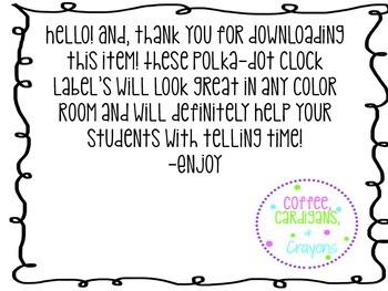 Polka-Dot Clock Labels/black and white/circle