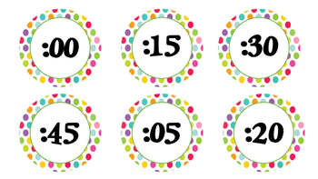 Polka Dot Clock Numbers