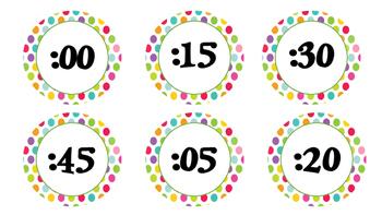 Polka Dot Clock Numbers