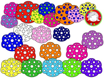 Polka Dot Clouds Clipart (Personal & Commercial Use)