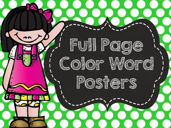 Polka Dot Color Posters with Chalkboard- Full Page