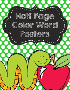 Polka Dot Color Posters with Chalkboard- Half Page Posters