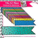 Polka Dot Color Ribbon Accents Clip Art