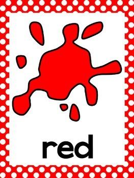 Polka Dot Color Word Posters