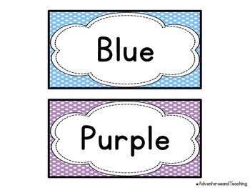 Polka Dot Color Word Cards