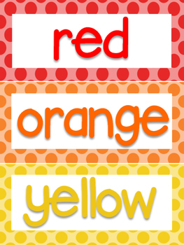 Polka Dot Color Words and Days of the Week