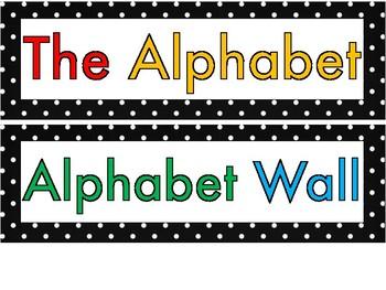 Polka Dot Colorful Alphabet Circles for Word Wall