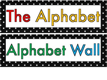 Polka Dot Colorful Alphabet Circles for Word Wall