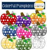 Polka Dot Colorful Fall Pumpkin Clip Art