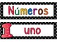 Polka Dot Colorful Number Cards/Plates in Spanish