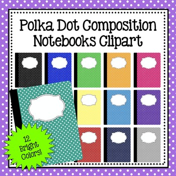 Polka Dot Composition Notebook Clipart - Commercial and Personal Use