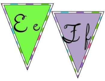 Polka Dot Cursive Alphabet Bunting Banner