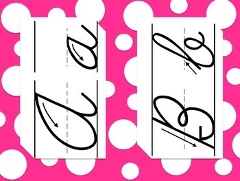 Polka Dot Cursive Letter Posters
