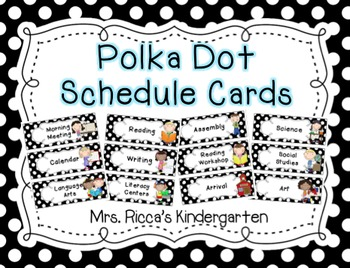 Polka Dot Daily Schedule Cards {Black & White}
