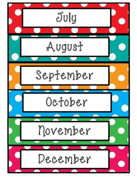Polka Dot Days, Months, Numbers