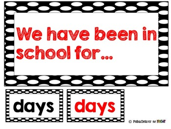 Black and White Polka Dot Days of School: Place Value