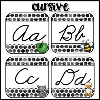 Polka Dot Decor: Alphabet Line in Print and Cursive