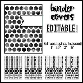 Polka Dot Decor: Binder Covers Editable