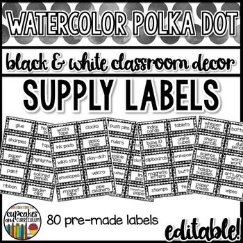 Polka Dot Decor: Classroom Supply Labels Editable