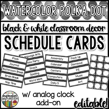 Polka Dot Decor: Schedule Cards Editable