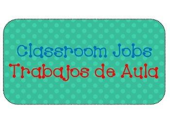 Polka Dot Design Classroom Job Cards Dual Language Editable