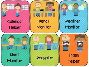 Polka Dot Design Classroom Job Cards Editable