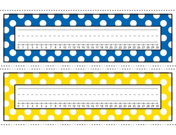 Polka Dot Desk Name Plates With A Number Line