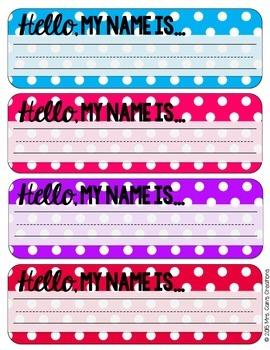Editable Polka Dot Desk Name Tags