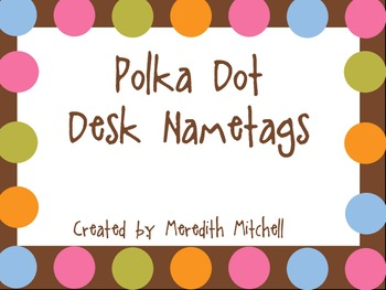 Polka Dot Desk Nametags