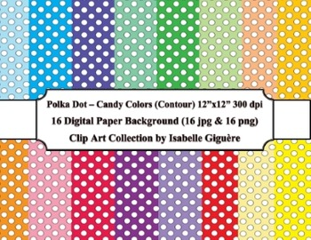 Digital Papers - 16 Polka Dot Candy Colors (Contour-Commercial Use)