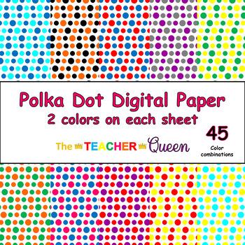 Polka Dot Digital Paper - 2 colors per sheet