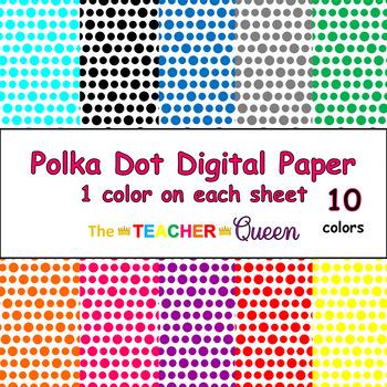 Polka Dot Digital Paper - 1 color per sheet