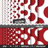 Polka Dot Digital Paper, Christmas Red Background