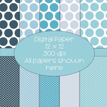 Polka Dot Digital Papers - 10 pages total - blue/teal/lavender