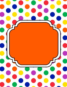 Polka Dot Digital Papers and Matching Frames for Work Books, Covers and Sellers
