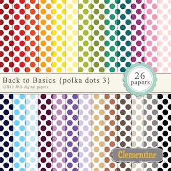 Polka Dot Digital Papers - rainbow digital papers