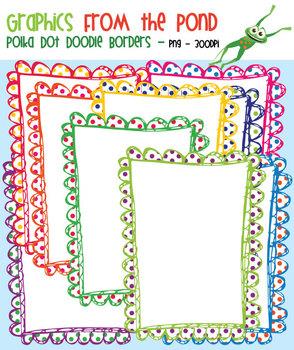 Polka Dot Doodle Borders and PLain Doodle Borders
