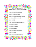 Polka Dot Editable Class Schedule