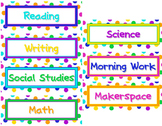 Polka Dot Editable Class Schedule Cards or Name Tags