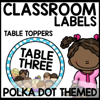 Polka Dot Classroom LABELS (turquoise, purple, pink, lime green)