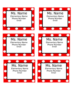 Polka Dot Editable Communication Magnets for Parents