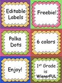 Polka Dot Editable Labels with cute banners!  FREEBIE!