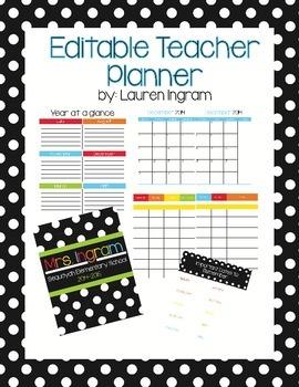 Polka Dot Editable Teacher Planner