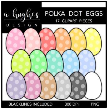 Polka Dot Eggs Clipart {A Hughes Design}